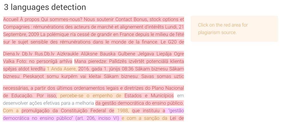 Multilingual plagiarism detection